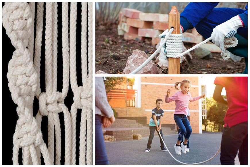Zastosowanie liny bawełnianej w pracy i podczas zabawy.