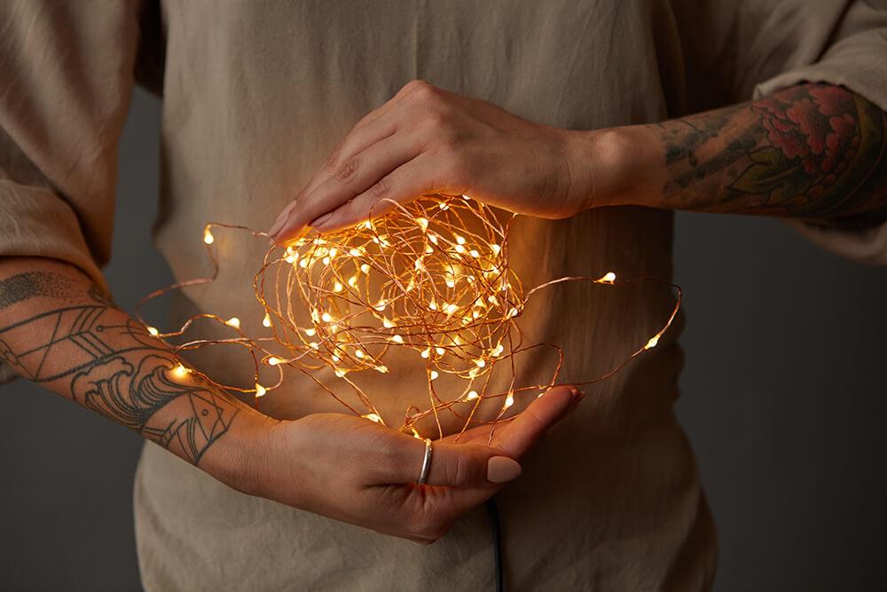 Światła / lampki led idealnie nadają się też do tworzenia planu lub elementu zdjęcia.