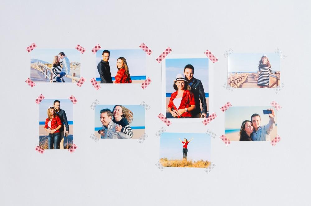 Zdjęcia przyklejone do ściany