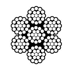 Konstrukcja liny stalowej 7x19 - obrazek techniczny