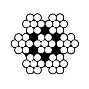 Konstrukcja liny stalowej 7x7 - rysunek techniczny