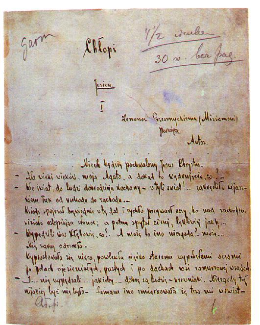 chłopi-reymont-rękopis