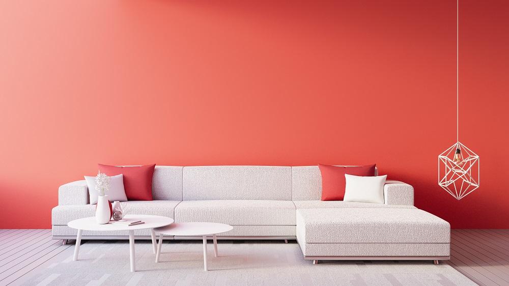 Ściana w kolorze Living Coral