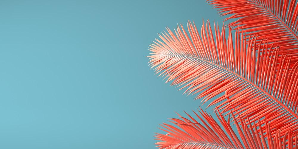 Liść palmowy w kolorze Living Coral
