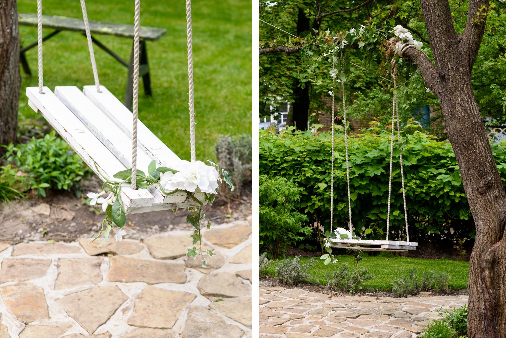 Lina bawełniana jako element huśtawki ogrodowej
