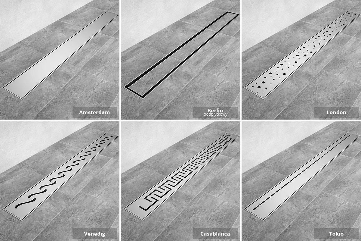 Odpływy liniowe Steigner wzory maskownic