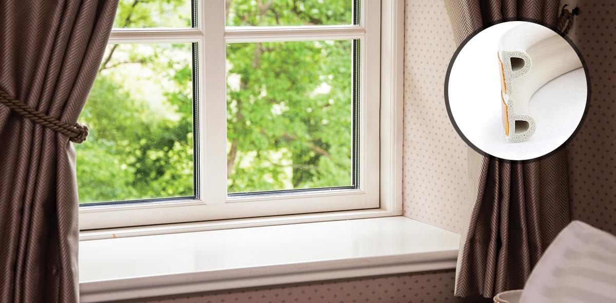 Samoprzylepna uszczelka do okien i drzwi profil P 6 m biała Steigner