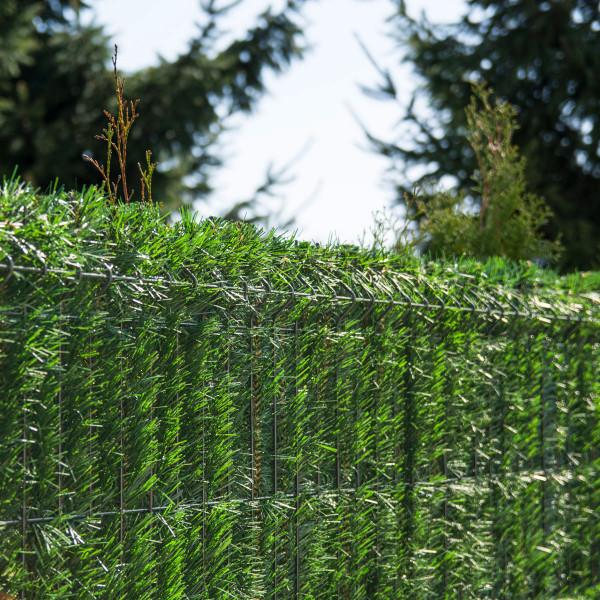 Jasnozielona osłona na ogrodzenie sztuczny żywopłot GreenFences 150 cm