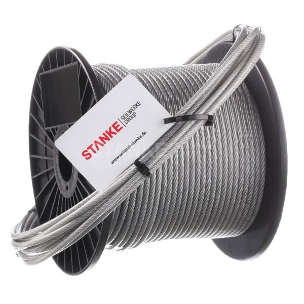 Linka stalowa ocynkowana w powłoce PVC 6 mm (lina 4 mm + PVC 2 mm) splot 6x7