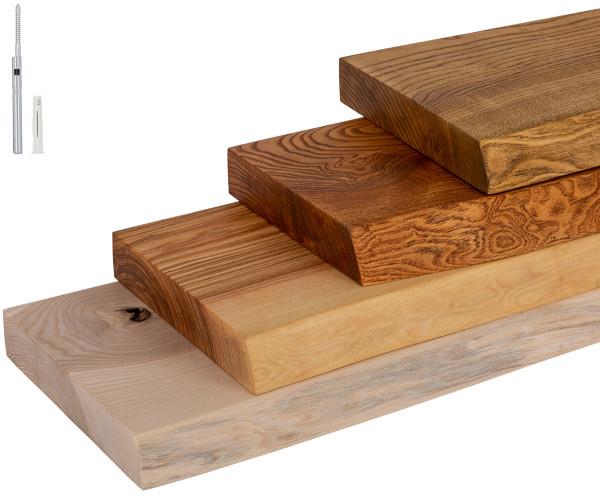 Półka ścienna, półka drewniana z jesionu, naturalna, niewidoczne mocowanie ze wspornikiem Wurth