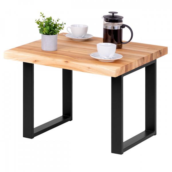 Stolik kawowy loft, mały stolik kawowy z drewnianym blatem 60x60x47 cm