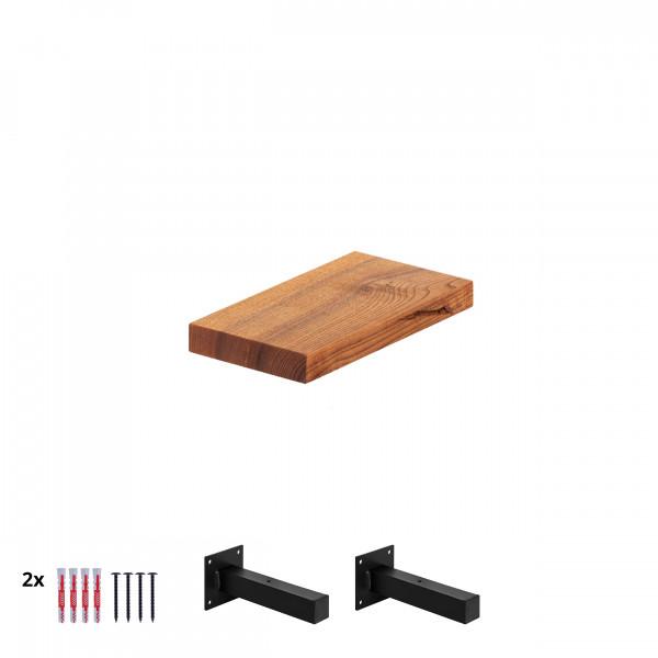 """Półka wisząca z litego drewna, krawędź 90°, wsporniki """"T"""" HLT-14a"""