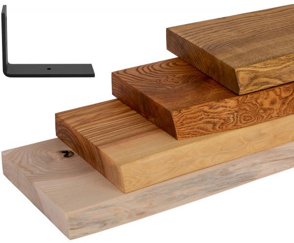 Półka ścienna z drewna jesionu, wsporniki L