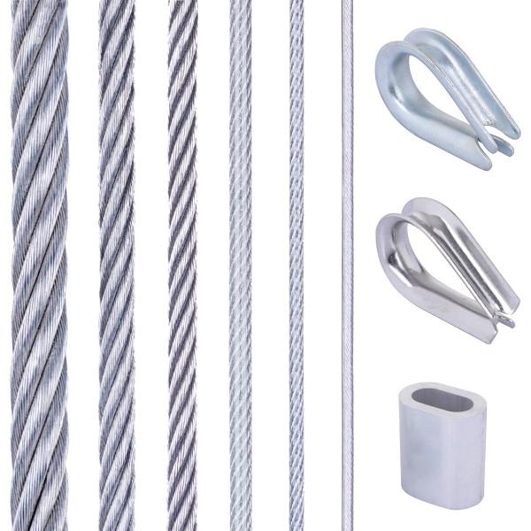 Zestaw 7: lina stalowa ocynkowana z 4 tulejami aluminiowymi
