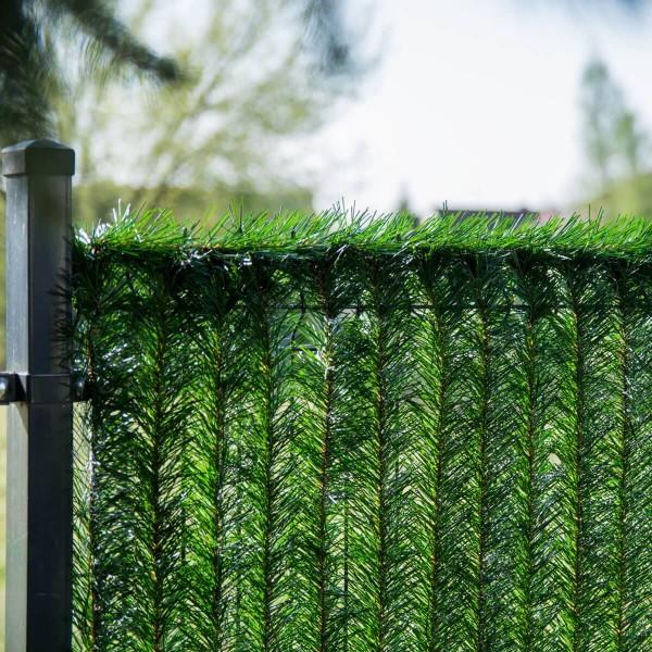 Ciemnozielona osłona na ogrodzenie sztuczny żywopłot GreenFences 220 cm