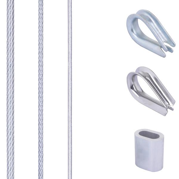 Zestaw 7: lina stalowa ocynkowana w PVC z 4 tulejami aluminiowymi