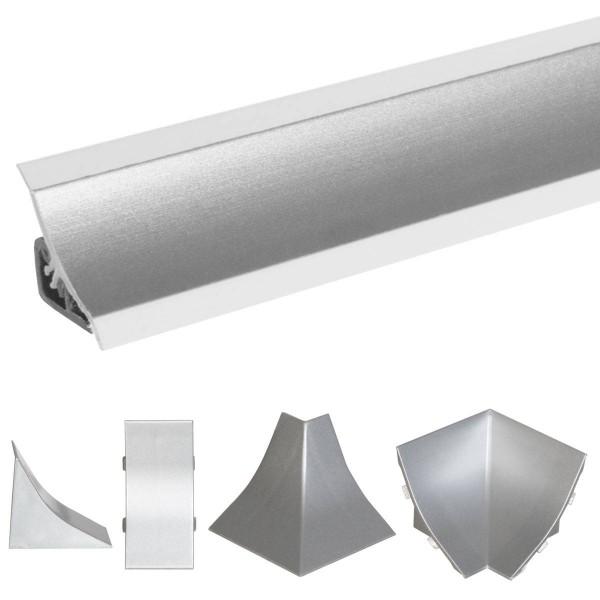 Listwa przyblatowa do blatu kuchennego 150 cm PVC aluminium satynowe