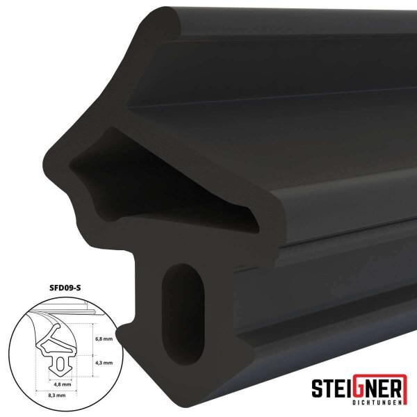 Uszczelka do okien i drzwi drewnianych oraz pcv SFD09-S czarna