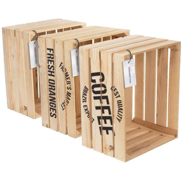 Dekoracyjna skrzynka drewniana na owoce naturalna, sosnowa 40x50x30 cm, 3 szt., HOK-01