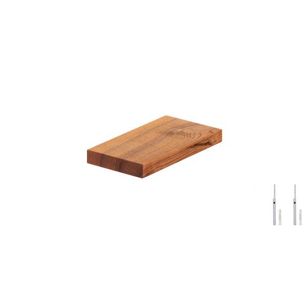 Półka wisząca z litego drewna, krawędź 90°, wsporniki Wurth