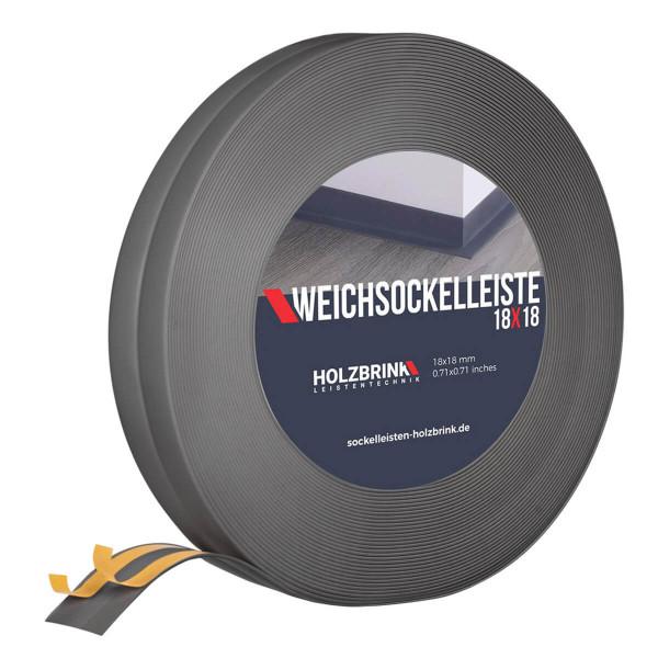 Listwa przypodłogowa miękka PVC gumowa 18 x 18 mm ciemnoszara PREMIUM