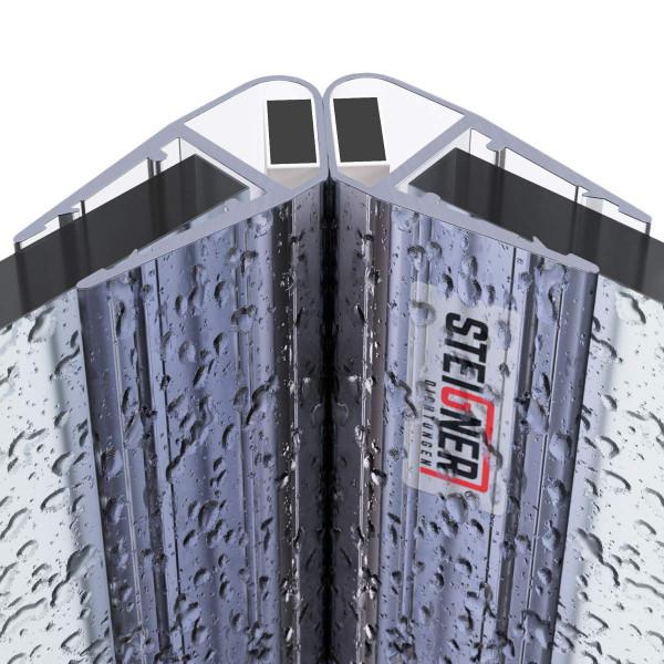 Zestaw 2 uszczelek do drzwi kabiny prysznicowej 90° UKM04 magnetycznych do szyby o grubości 6 mm, 7