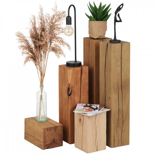 Dekoracyjny pieniek drewniany dębowy, stolik z pnia, stojak na kwiaty, postument