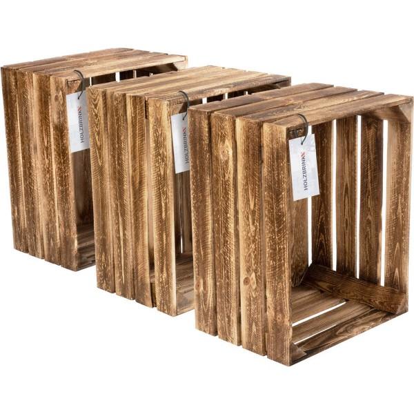 Dekoracyjna skrzynka drewniana na owoce opalana, sosnowa 40x50x30 cm, 3 szt., HOK-01